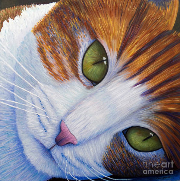 Calico Cat Painting - Secrets by Brian  Commerford