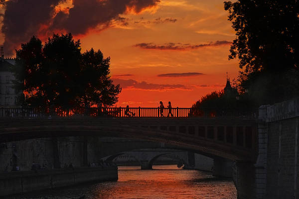 Photograph - Seine River Bridges At Sunset  by Wes and Dotty Weber