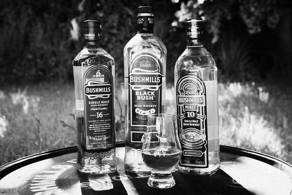 Irish Whiskey Photograph - Selection Of Bushmills Irish Malt Whiskey County Antrim Northern Ireland by Joe Fox