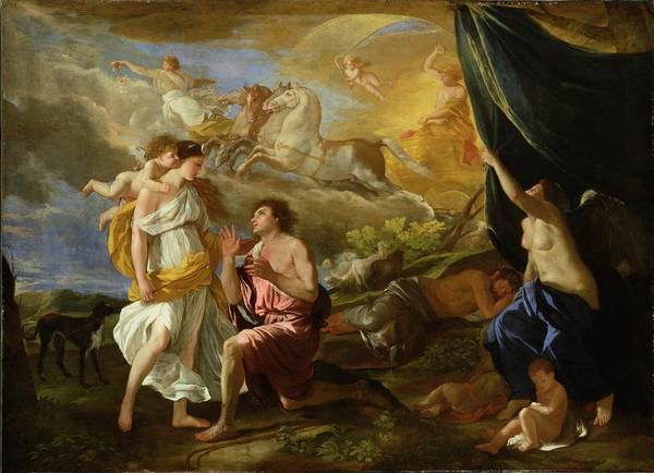 Classical Mythology Painting - Selene And Endymion by Nicolas Poussin