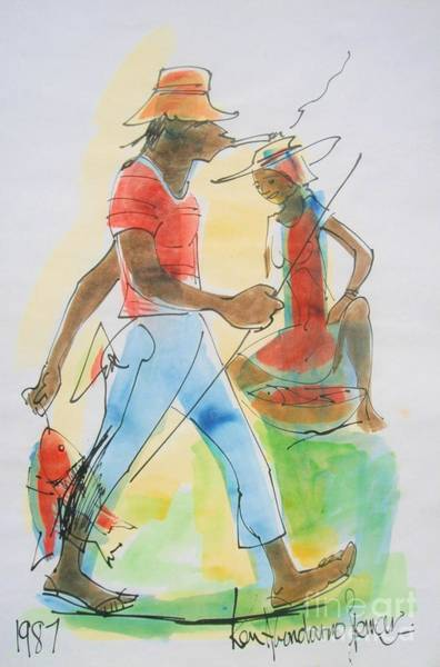 Reggae Wall Art - Painting - Sell Fish by Carey Chen