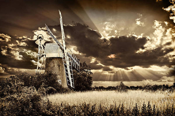 Norfolk Broads Wall Art - Photograph - Sepia Sky Windmill by Meirion Matthias