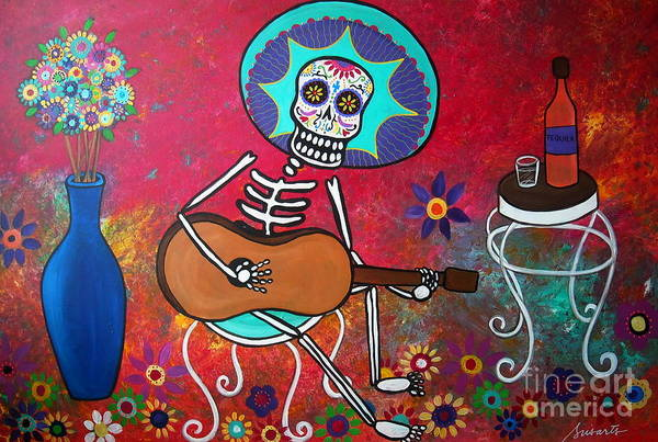 Mexican Guitar Player Painting - Serenata IIi by Pristine Cartera Turkus