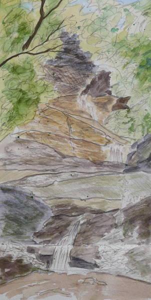Set Rock Creek Falls - A Sketch Art Print