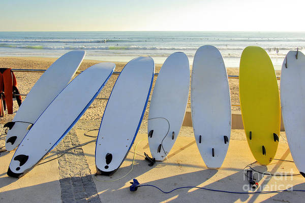 Longboard Photograph - Seven Surfboards by Carlos Caetano