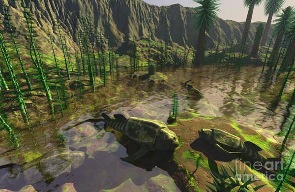 Paleobotany Digital Art - Several Bothriolepis Emerge by Walter Myers