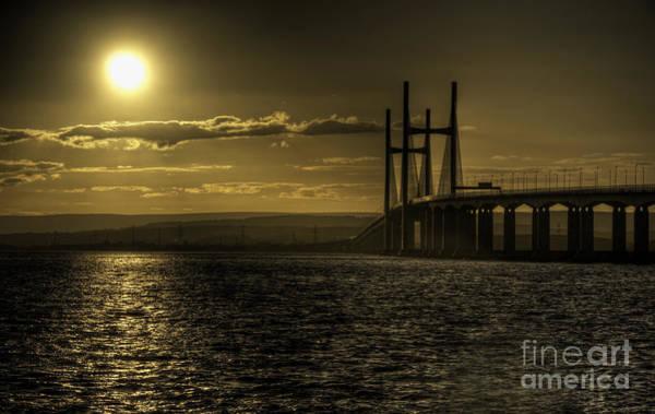 Bristol Channel Photograph - Severn Bridge Sunset by Rob Hawkins