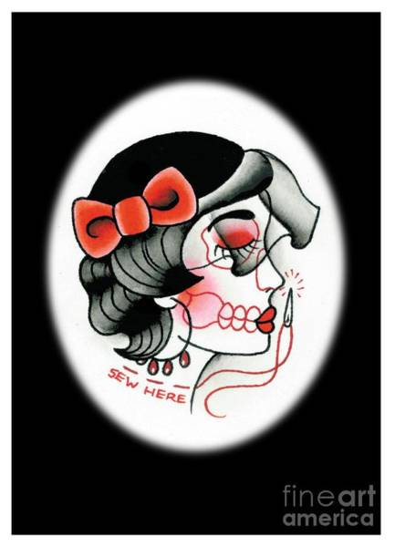 Tattoo Flash Painting - Sew Here by Lauren B