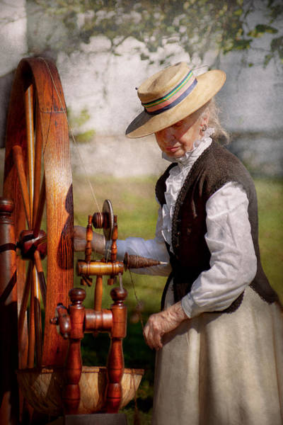 Photograph - Sewing - Weaving - Big Wheel Keep On Turning  by Mike Savad
