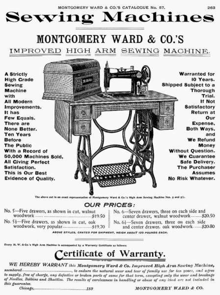 Photograph - Sewing Machine Ad, 1895 by Granger
