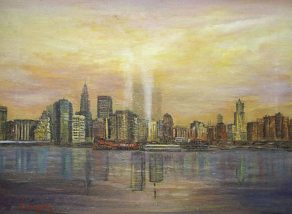 Painting - shadows of the New York towers by Katalin Luczay