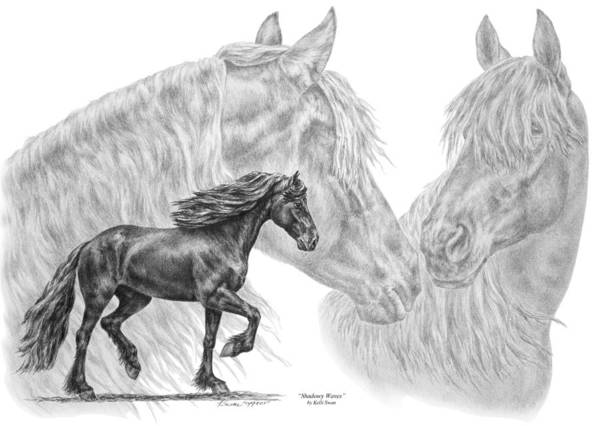 Friesian Drawing - Shadowy Waves - Friesian Horses Art Print by Kelli Swan