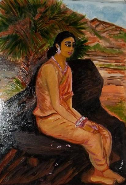 Lady In Waiting Painting - Shakuntala By Raja  Ravi Varma by Iris Devadason