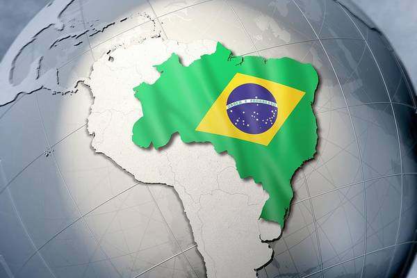Object Digital Art - Shape And Ensign Of Brazil On A Globe by Dieter Spannknebel