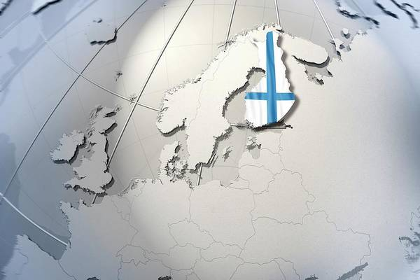 Spots Digital Art - Shape And Ensign Of Finland On A Globe by Dieter Spannknebel