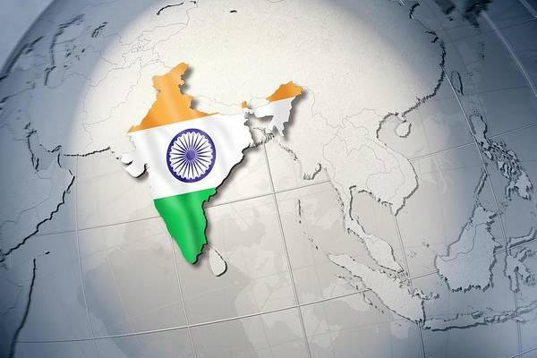 Object Digital Art - Shape And Ensign Of India On A Globe by Dieter Spannknebel