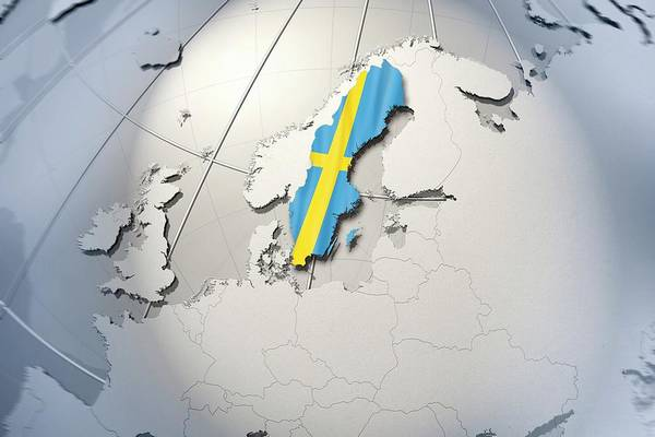 Object Digital Art - Shape And Ensign Of Sweden On A Globe by Dieter Spannknebel