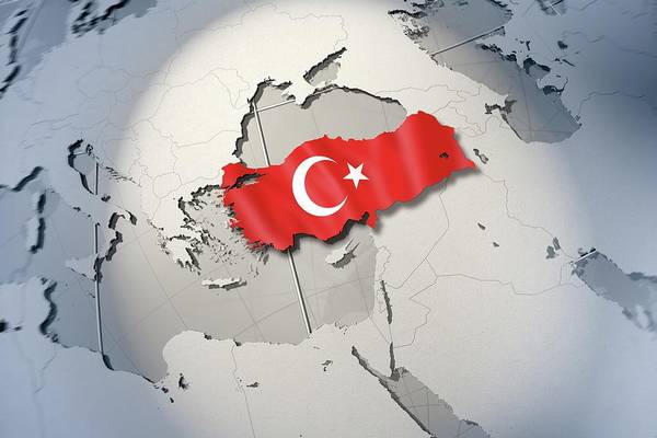 Horizontal Digital Art - Shape And Ensign Of Turkey On A Globe by Dieter Spannknebel