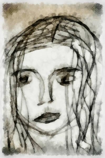 Anguish Mixed Media - She Sat Alone 2 by Angelina Tamez