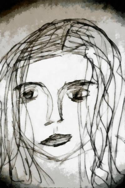 Anguish Mixed Media - She Sat Alone by Angelina Tamez