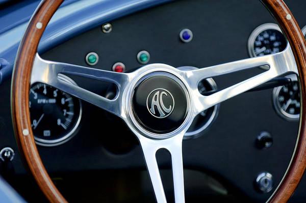 Ac Cobra Wall Art - Photograph - Shelby Ac Cobra Steering Wheel 3 by Jill Reger