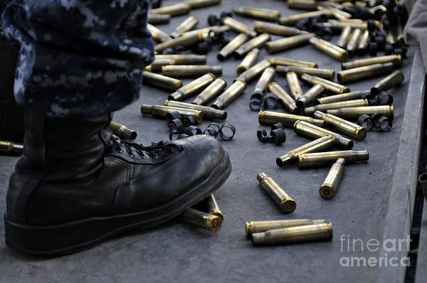 Uss Carl Vinson Photograph - Shell Casings From A .50 Caliber by Stocktrek Images