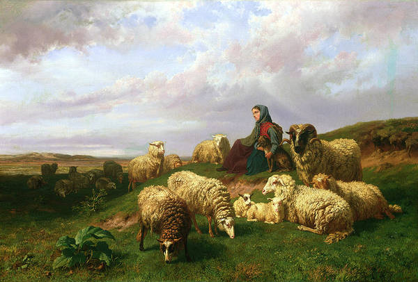 Paysage Wall Art - Painting - Shepherdess Resting With Her Flock by Edmond Jean-Baptiste Tschaggeny