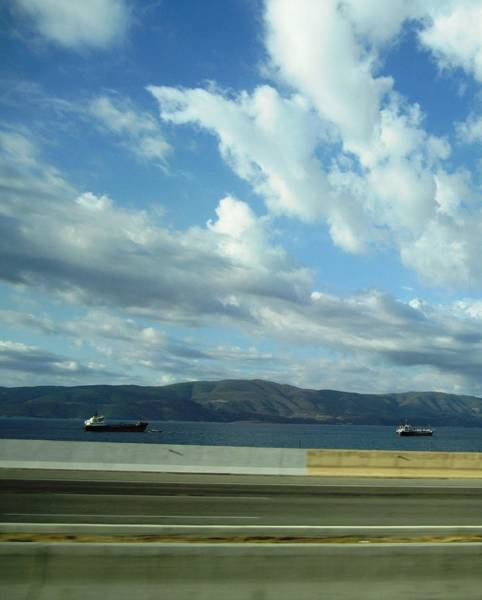 Photograph - Ship Sailing Thru The Aegean Sea West Of Athens In Greece by John Shiron