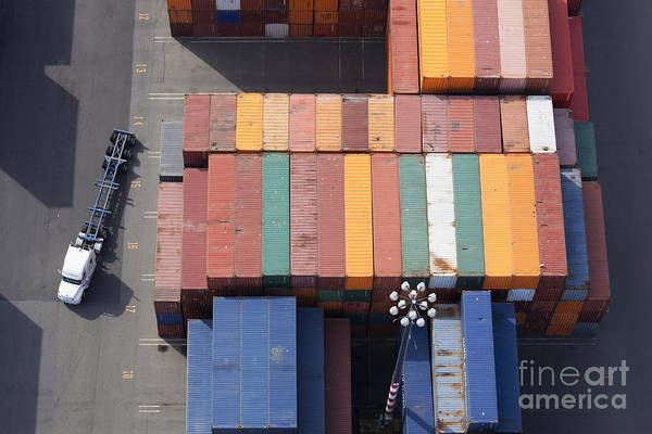 Wall Art - Photograph - Shipping Containers And Semi Truck by Don Mason