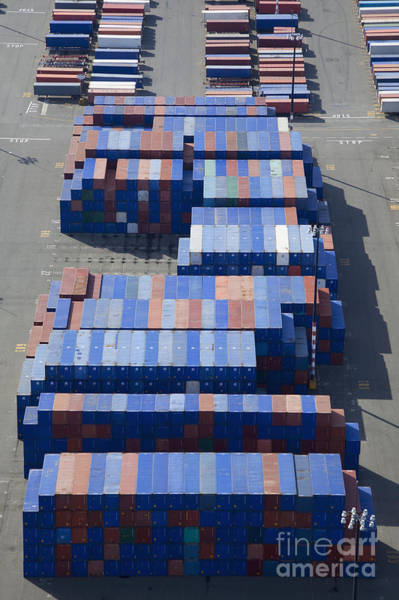 Wall Art - Photograph - Shipping Containers To Be Loaded Onto Semi Trucks by Don Mason