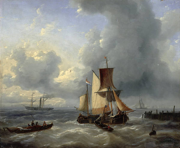 Jetty Painting - Shipping Off A Jetty by Louis Verboeckhoven