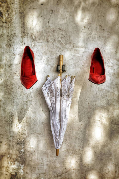 Suspended Photograph - Shoes And Parasol by Joana Kruse