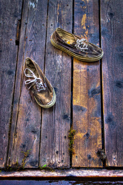 Priest Lake Photograph - Shoes On The Dock by David Patterson