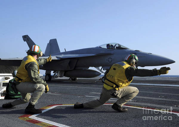 A-18 Hornet Wall Art - Photograph - Shooters Aboard The Uss George H.w by Stocktrek Images