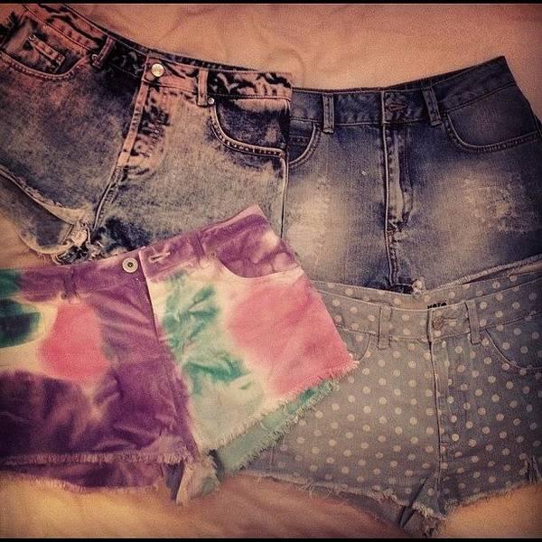 Grace Wall Art - Photograph - #shorts #hotpants #polkadot #denim by Grace Shine