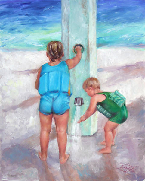The Blues Brothers Painting - Showering At The Beach by Nancy Tilles