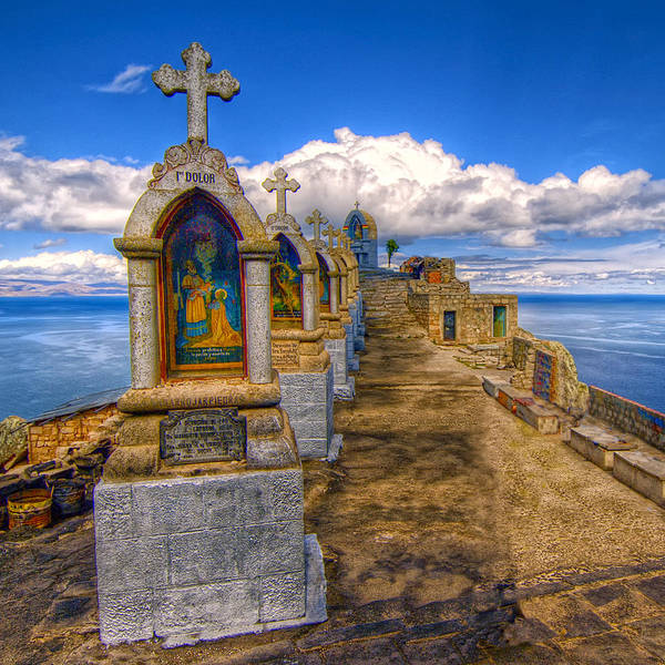 Station Of The Cross Photograph - Shrines Above Lake Titicaca by Dominic Piperata