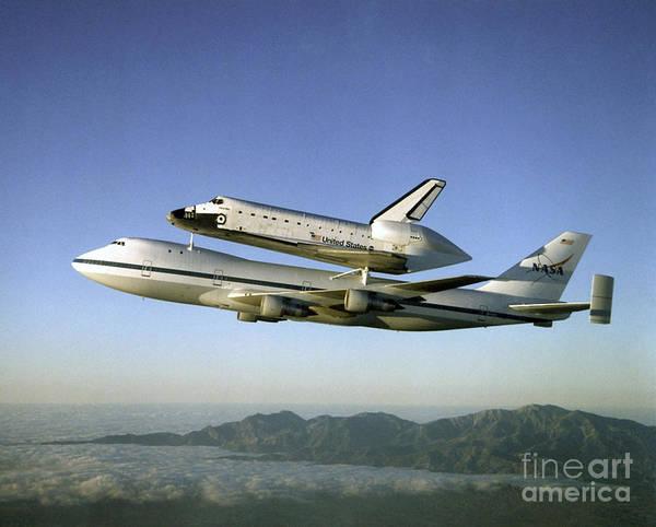 Photograph - Shuttle Atlantis Piggyback, Boeing 747 by Nasa