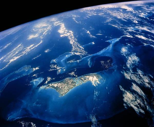 Andros Photograph - Shuttle View Of Part Of The Bahamas Archpelago by Nasa
