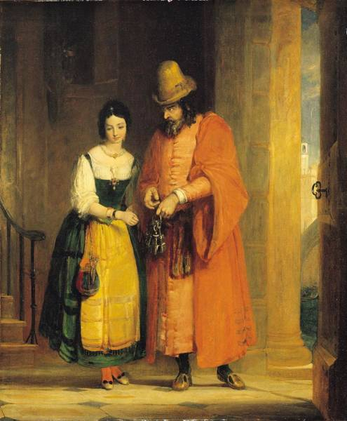 Stuart Photograph - Shylock And Jessica From 'the Merchant Of Venice' by Gilbert Stuart Newton