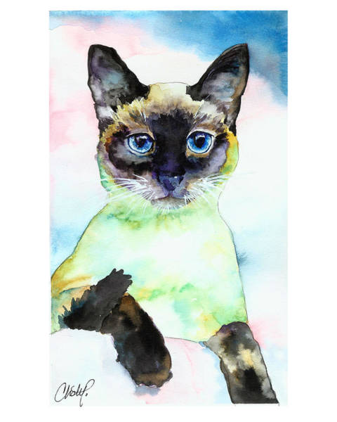 Painting - Siamese Cat Posing by Christy Freeman Stark