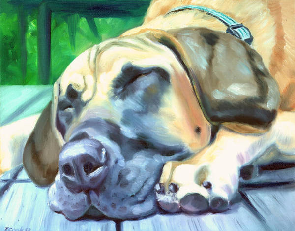 Great Dane Painting - Siesta - Great Dane by Lyn Cook