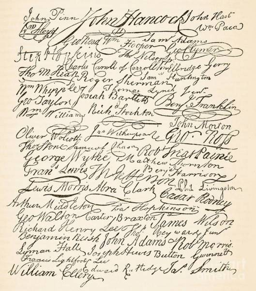 Signature Painting - Signatures Attached To The American Declaration Of Independence Of 1776 by Founding Fathers