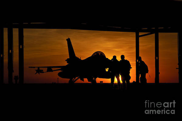Photograph - Silhouette Of A Chilean Air Force F-16c by Giovanni Colla
