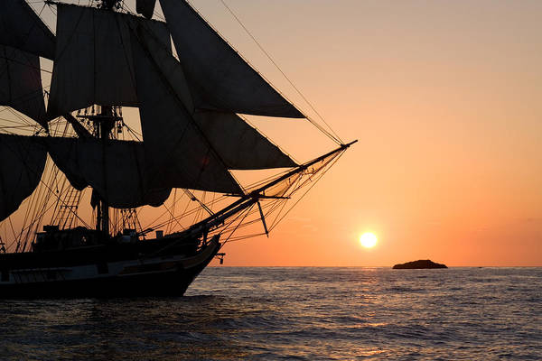 Silhouette Of Tall Ship At Sunset Art Print