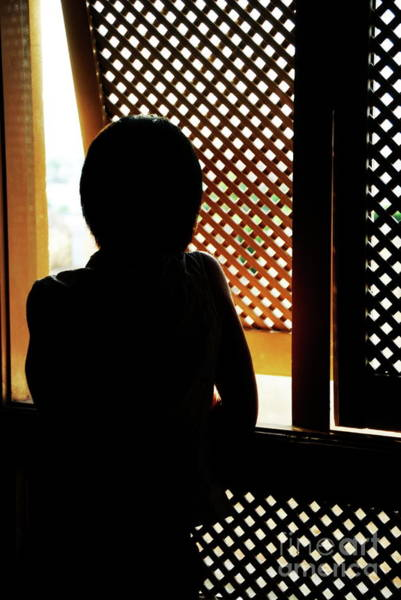 Wall Art - Photograph - Silhouette Of Woman At Moucharabieh Window by Sami Sarkis