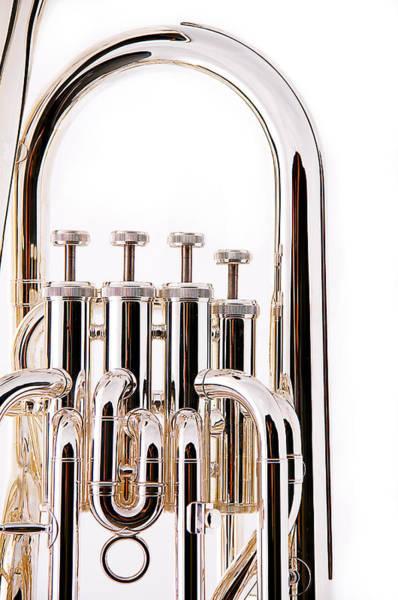 Photograph - Silver Bass Tuba Euphonium On White by M K Miller