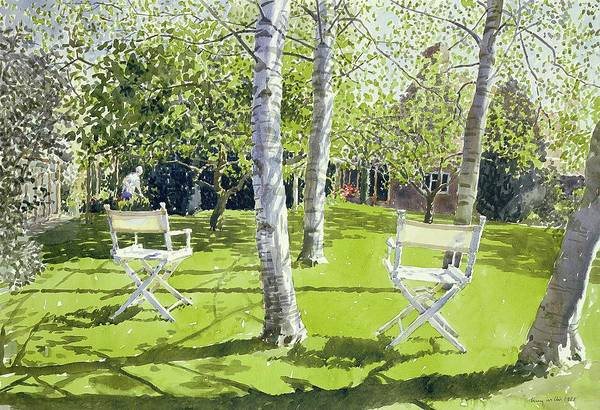Deck Painting - Silver Birches by Lucy Willis