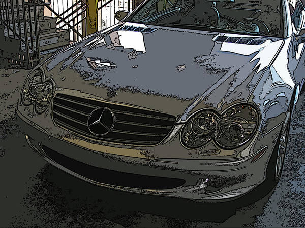 Photograph - Silver Mercedes Benz Sl 500 Nose Study by Samuel Sheats