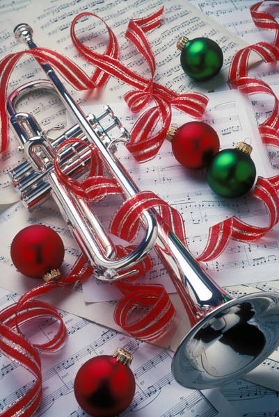 Trumpet Photograph - Silver Trumper And Christmas Ornaments by Garry Gay